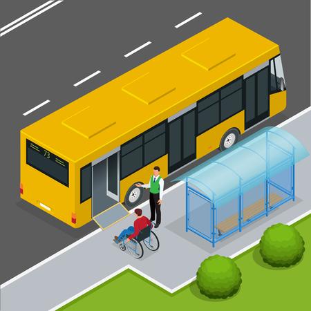 Rampa de acceso para minusválidos y bebés en un autobús. Hombre en una silla de ruedas en una parada de autobús. Conductor de ayuda del hombre entrar en el bus a través de rampa de silla de ruedas. 3D isométrico ilustración vectorial plana.