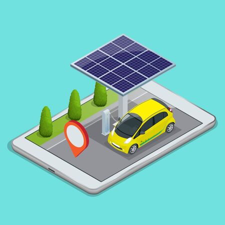 Mobile GPS navigation, electric car charging concept. View a map on the mobile phone on car and search GPS coordinates. Flat 3d vector isometric illustration Illustration