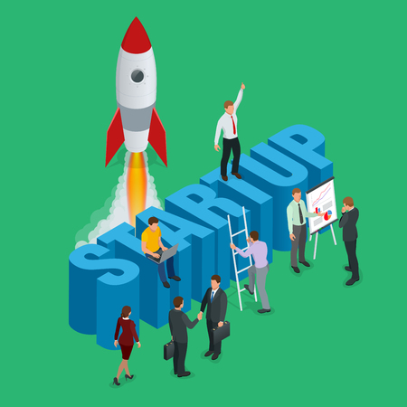 small business team: Startup flat 3d isometric style technology business concept web infographics vector illustration. Team working on spaceship launch start up and big word. Creative people collection.