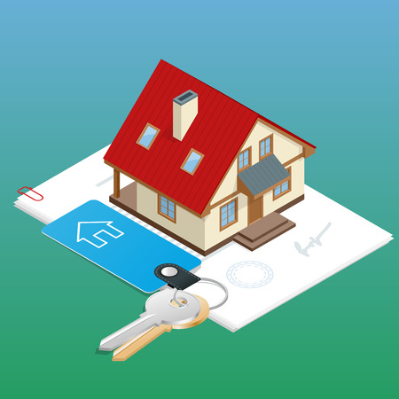 Immobilien Design-Konzept mit Online-Suche Ferienwohnung Markt zu kaufen flach isometrischen 3D-Vektor-Illustration isoliert gesetzt