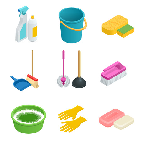 household equipment: Vector set of cleaning tools. Home clean, sponge, broom, bucket, mop, cleaning brush. Graphic concept for web sites, web banner, mobile apps, infographics. Flat 3d vector isometric illustration Illustration