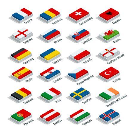 European football championship 2016 in France groups vector. Flat 3d isometric illustration Illustration