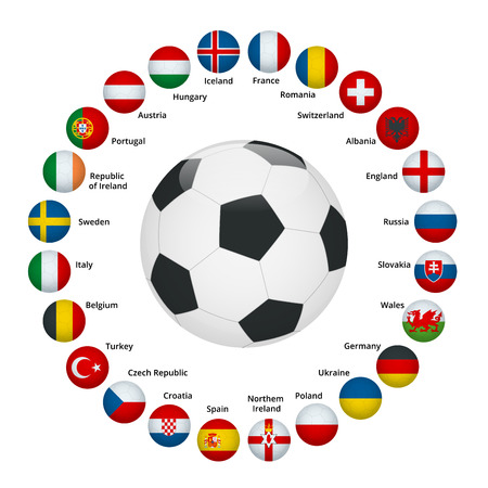 Euro 2016 France. Vector flags and groups. European football championship. Soccer tournament. Flags with country names