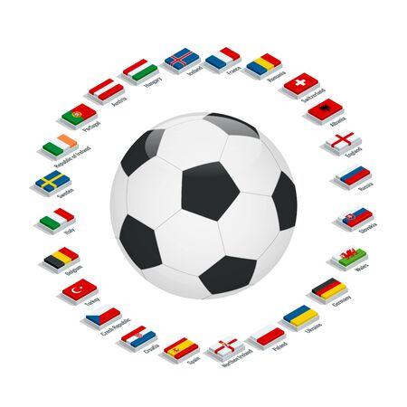 european: Euro 2016 France. Vector flags and groups. European football championship. Soccer tournament. Flags with country names. Flat 3d isometric illustration