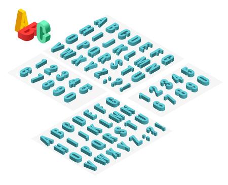 Polices vectorielles isométrique alphabet 3D. Lettres isométriques, chiffres et symboles. Typographie de vecteur de stock en trois dimensions pour des titres, des affiches etc.