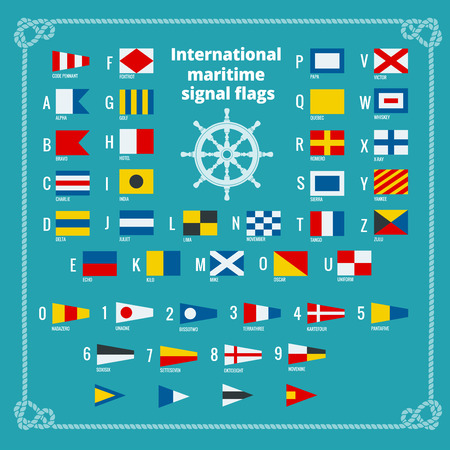morse code: International maritime signal flags. Sea alphabet. Flat vector illustration Illustration