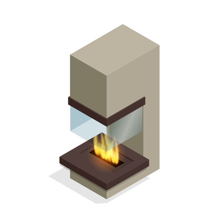 gas fireplace: Fireplace modern design. Flat 3d isometric illustration Illustration