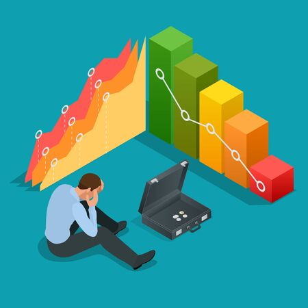 stockholder: Bad businessman. Not successful businessman. Depressed Businessman Leaning His Head Below a Bad Stock Market Chart. Flat 3d vector isometric illustration