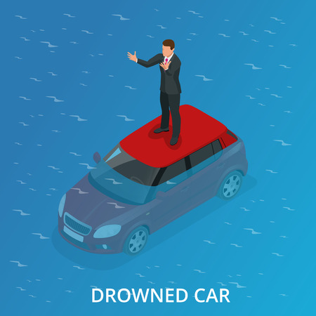 submerged: Drowned car. A car accident drowned. Flat 3d vector isometric illustration