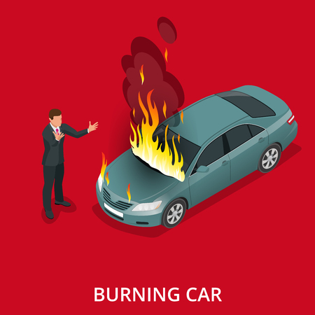 fire brigade: Burning car on the road. Fire suddenly started engulfing the car. Flat 3d vector isometric illustration