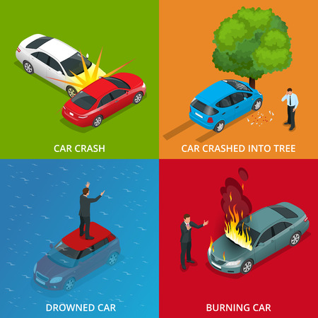 drowned: Crush car, drowned car, burning car, car crushed into tree. Traffic Accident. Flat 3d vector isometric illustration