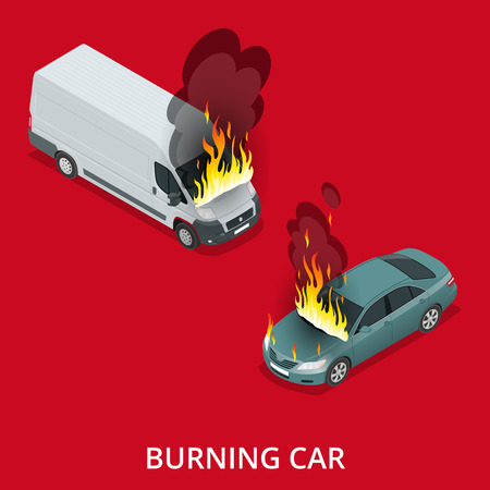 burned out: Burning car on the road. Fire suddenly started engulfing the car. Flat 3d vector isometric illustration