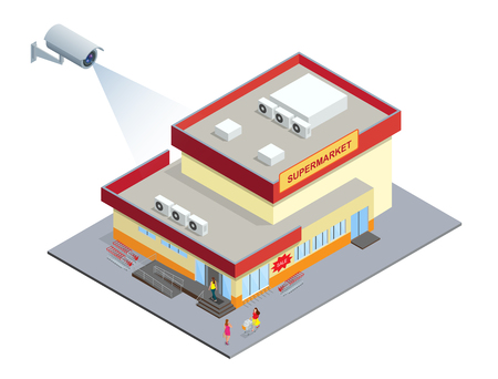 computerized: CCTV security camera on isometric illustration of Supermarket. 3d isometric vector illustration