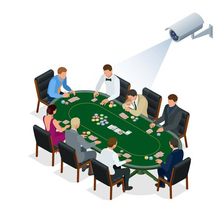 computerized: CCTV security camera on isometric illustration of people playing poker at the casino. 3d isometric vector illustration. Illustration