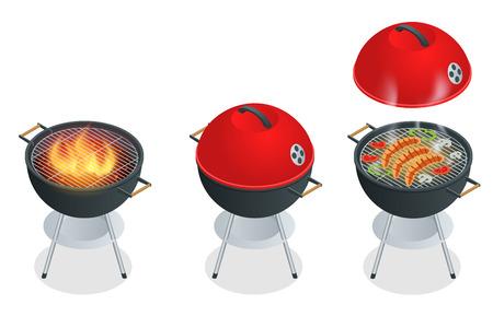 Barbecue-Design-Elemente und Barbecue-Grill Sommer Nahrung. Wohnung 3D-Vektor-isometrische Darstellung