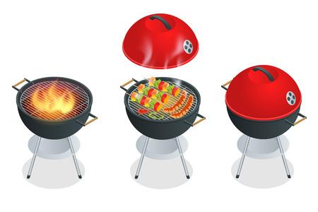Barbecue éléments de conception et barbecue grill nourriture d'été. Flat 3d illustration vectorielle isométrique Vecteurs