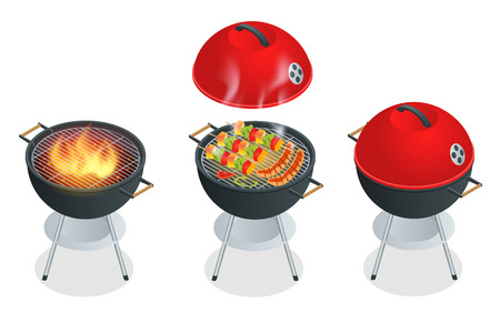 Barbecue design elements and barbecue grill summer food. Flat 3d vector isometric illustration Vector Illustration