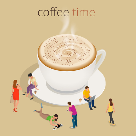 meal time: Coffee time or coffee break. Group People Chatting Interaction Socializing Concept.