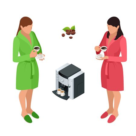 woman drinking coffee: Two woman drinking coffee at home. Flat 3d vector isometric illustration