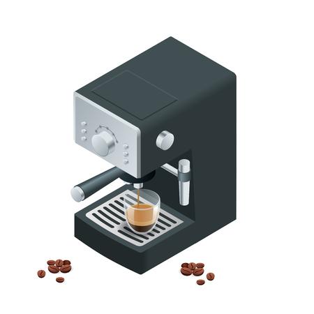 Koffiezetapparaat maakt twee koffie met koffiebonen op de achtergrond.
