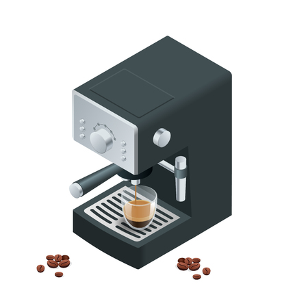 coffee machines: Coffee machine makes two coffee with coffee beans on background.