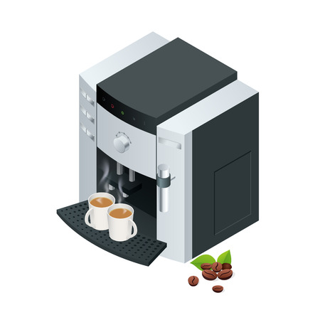coffee machine: Coffee machine makes two coffee with coffee beans on background.