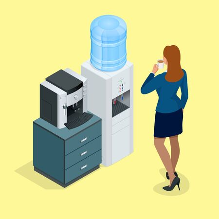 Illustration with young woman with coffee cup, coffee machine and Water cooler. Flat 3d vector isometric concept
