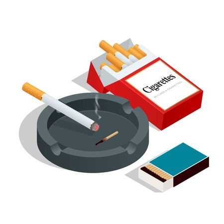 cigarette pack: Box of matches, cigarettes pack, cigarette on white isolated background. Flat 3d vector isometric illustration