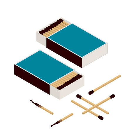match box: Matches and matchbox. Isolated on white. New matchstick. Burning matchstick. Burned matchstick. Flat 3d vector isometric illustration