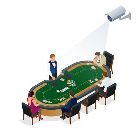 computerized: CCTV security camera on isometric illustration of people playing poker at the casino. 3d isometric vector illustration Illustration