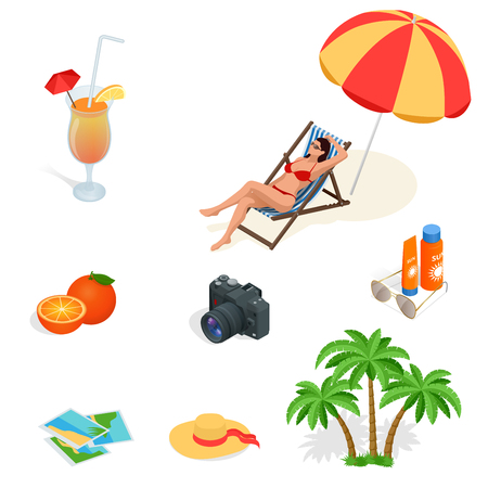sun glasses: Beach icon set. Girl in a swimsuit on a deck chair, orange juice, sun umbrella, palm, sun glasses, photo, photo camera, sun hat, sun cream. Flat 3d vector isometric illustration. Stock Photo