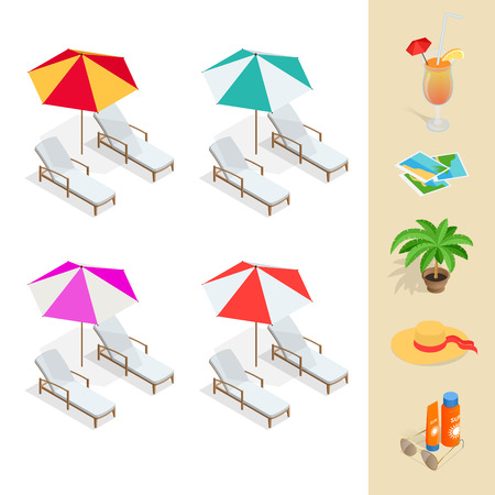 sun glasses: Beach icon set. Orange juice, sun umbrella, palm, sun glasses, photo, photo camera, sun hat, sun cream. Flat 3d vector isometric illustration