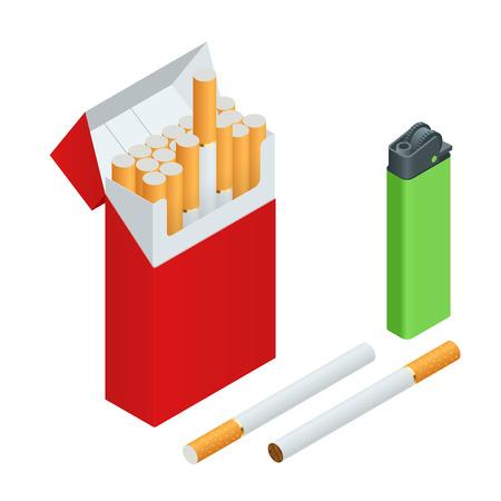 encendedores: Encendedores, cigarrillos Paquete, cigarrillos. Piso 3d ilustración isométrica del vector Vectores