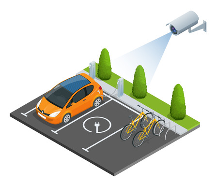 computerized: CCTV security camera on isometric illustration of electric car parking. 3d isometric vector illustration