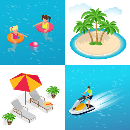 sun umbrella: Little girls swimming in inflatable ring, palm trees, sun umbrella and two Deck chairs, Man on Jet Ski. Flat 3d vector isometric illustration. Illustration
