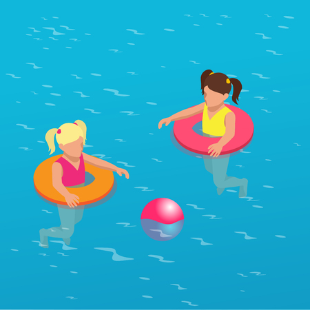 sunglasses recreation: Summertime concept. Funny little girl swims in a pool in an orange life preserver. Flat 3d vector isometric illustration