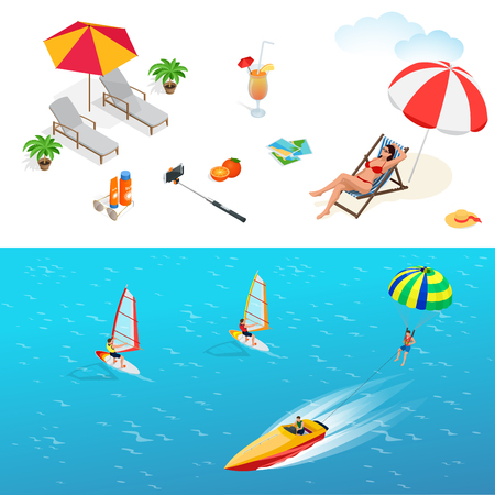 sun glasses: Beach icon set. Girl in a swimsuit on a deck chair, orange juice, sun umbrella, palm, sun glasses, photo, photo camera, sun hat, sun cream. Flat 3d vector isometric illustration