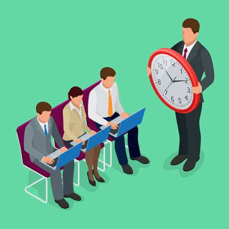 cartoon clock: Time management concept planning, organization, working time concept. Flat 3d vector isometric illustration