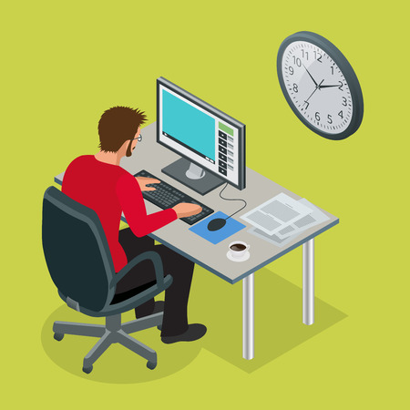 break: Time to work or Time management project plan schedule. Sand clock flat 3d vector isometric illustration. Business man working background with laptop table. Illustration