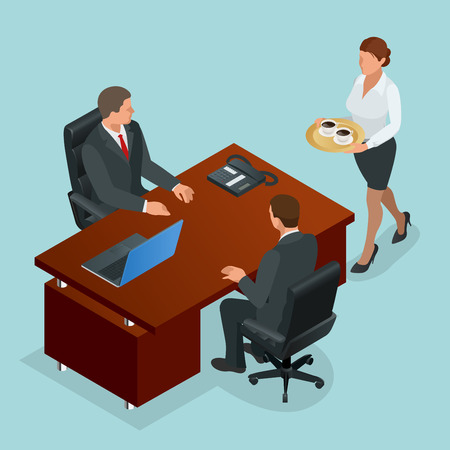 financial adviser: Secretary carries coffee for company director and businessman. Interior of real estate agency. Flat 3d Vector isometric illustration
