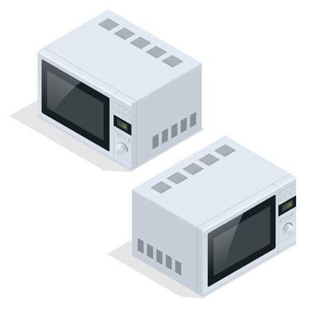 microondas: Horno microondas aislado. aparatos de cocina para cocinar y calentar la comida. Piso 3d ilustración isométrica del vector Vectores
