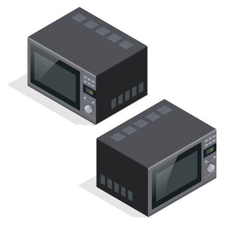 microondas: Horno microondas aislado. aparatos de cocina para cocinar y calentar la comida. Piso 3d ilustraci�n isom�trica del vector Vectores