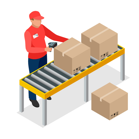 bar code scanner: Warehouse manager or warehouse worker with bar code scanner checking goods on storage racks. Stock taking job. Flat 3d vector isometric illustration