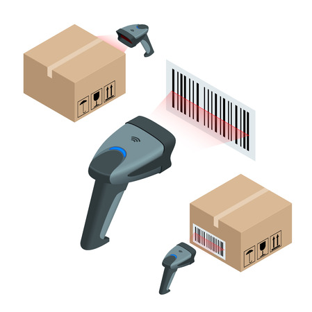checkout counter: The manual scanner of bar codes. Flat 3d vector isometric illustration Illustration