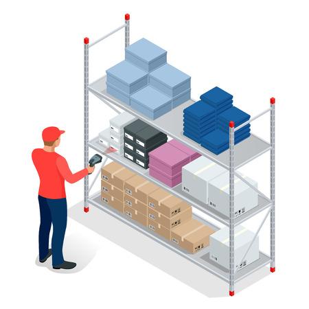 El gerente de almacén o empleado de almacén con un escáner de código de barras comprobación mercancías en bastidores de almacenamiento. Stock teniendo trabajo. Piso 3d ilustración isométrica del vector