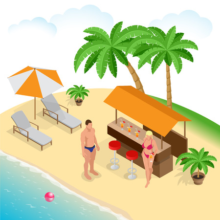 Summer concept of sandy beach. Beach summer couple on beach vacation holiday relax in the sun on their deck chairs under a yellow umbrella. Idyllic travel background. Flat 3d vector isometric illustration