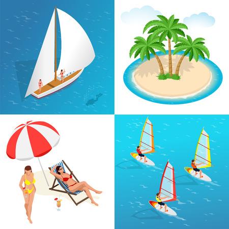 idyllic: Summer concept of sandy beach. Idyllic travel background. Flat 3d vector isometric illustration Illustration