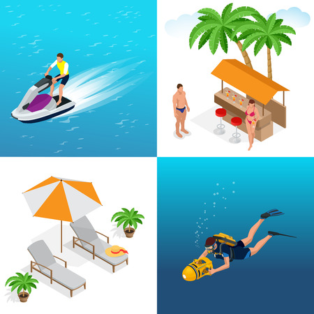idyllic: Summer concept of sandy beach. Idyllic travel background. Flat 3d vector isometric illustration Illustration
