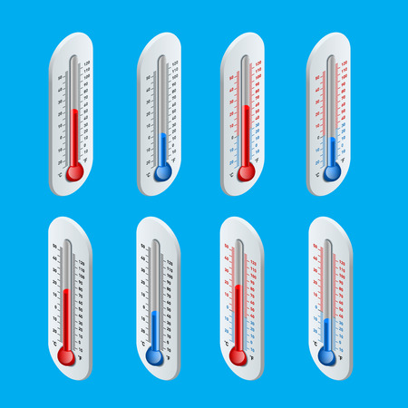 cold temperature: Outdoor Thermometer. Hot and cold temperature. Flat 3d vector isometric illustration.