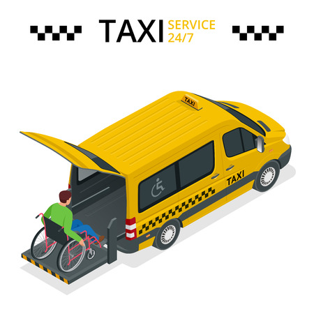 physically: Minibus for physically disabled people. Taxi or car for man on wheelchair. Vehicle with a lift. Flat 3d vector isometric illustration Illustration